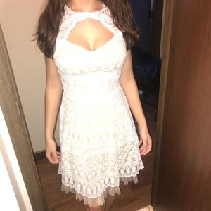 Cream over tan Francesca's dress